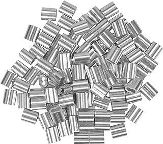 100 stuks aluminium hulzen, 4 mm aluminium klem, dubbele hulzen kabelklem, aluminium krimplus voor staalkabel, kabelkabel,...