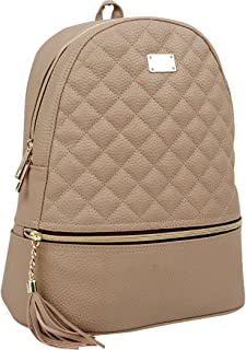 Copi Women's Simple Design Fashion Quilted Casual Backpacks Beige