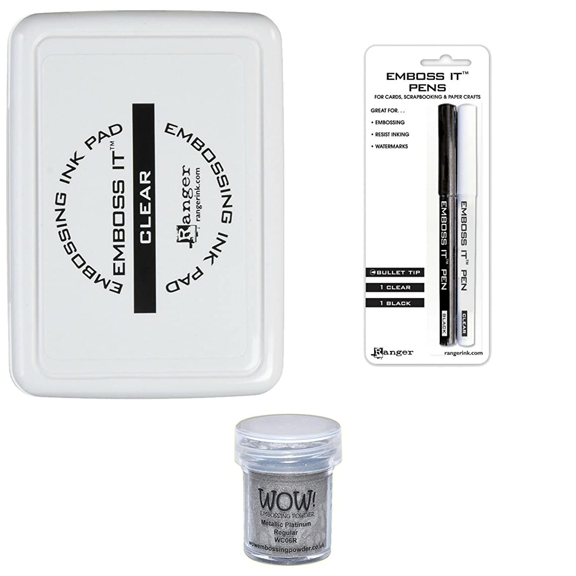 Emboss It Bundle Includes Embossing Ink Pad Clear and Emboss It Pens Bullet Tip 1 Black and 1 Clear + Bonus Wow Embossing Powder - Metallic Color Will Vary