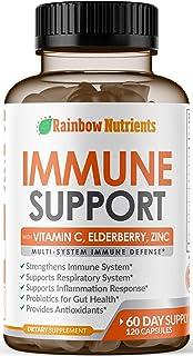 10 in 1 Immune Support Supplement (60 Day Supply)with Vitamin C, Zinc, Elderberry, Echinacea, Turmeric, Pro...