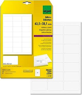 SIGEL LA320 abgerundete Adress-Etiketten weiß, 63,5 x 38,1