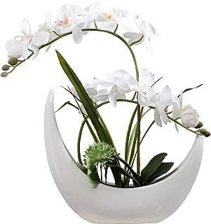 Fudostar Artificial Silk Flowers Potting in White Ceramic Crescent Vase, Natural Looking Phalaenopsis Flowers and Greens, Handmade Flower Arrangement (White)