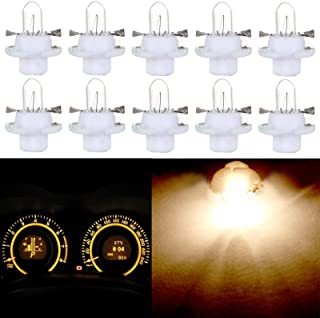 cciyu 10 Pack T5 B8.4D 5050 LED SMD Warm White Replacement fit for BMW Dodge Benz Dashboard Gauge Cluster LED Light Bulbs