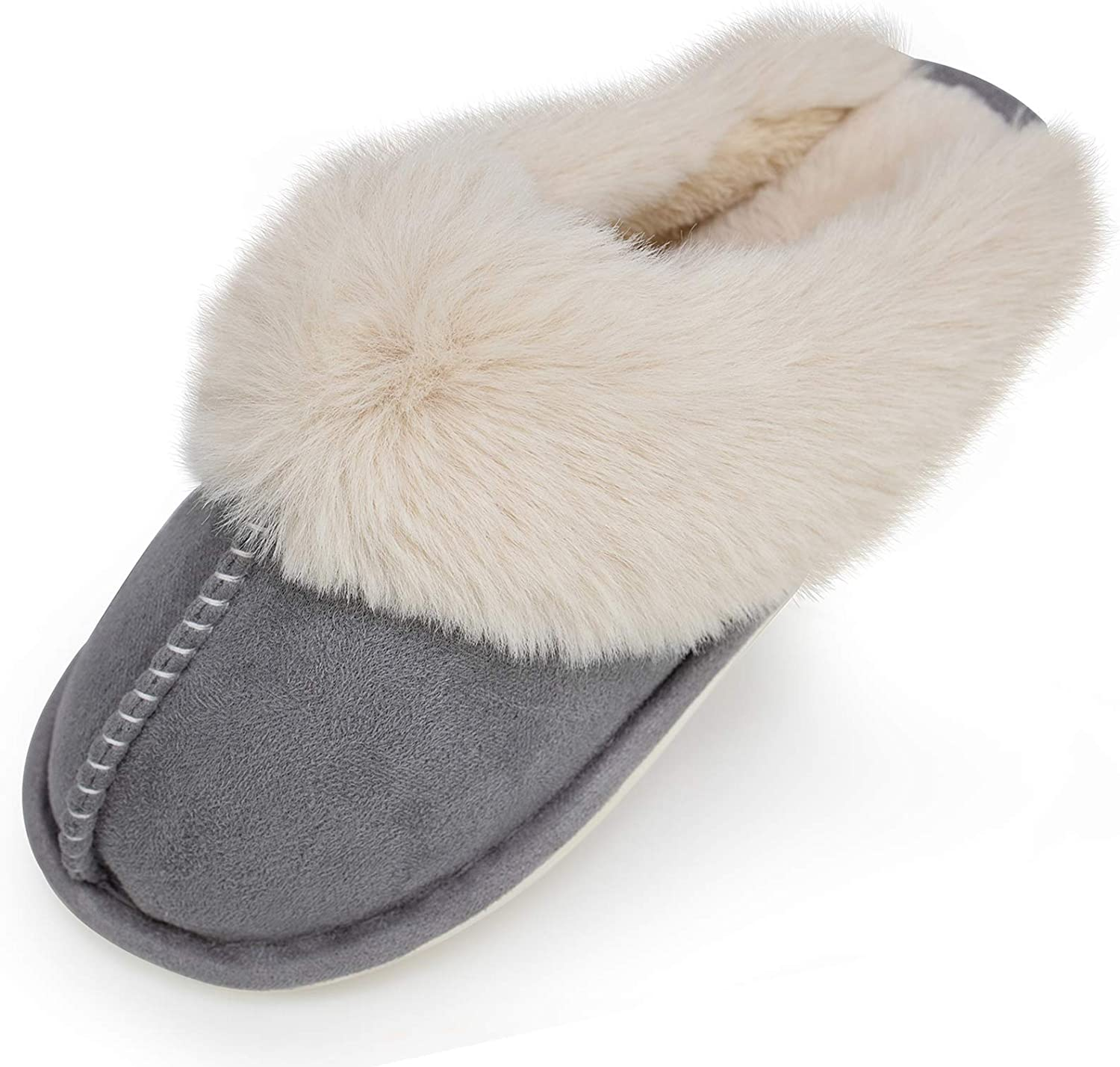 Womens Comfy Slippers Faux Fur House Shoes Indoor Outdoor Bedroom Warm Lady Memory Foam Fuzzy Slippers Winter