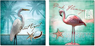 Purple Verbena Art 2 Panels White Egret and Pink Flamingo with the Conch Starfish Pictures Prints on Canvas Walls Paintings, HD Animal Modern Giclee 30x30cm Stretched and Framed Artwork for Home Decor