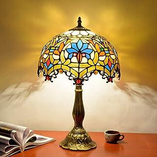 GYLTFL Tiffany lamparas de Mesa,Vintage Tiffany Stained Glass Lamp Lámpara de Mesa de Noche para la Sala de Estar Dormitorio Restaurante Bar Hotel Decoración