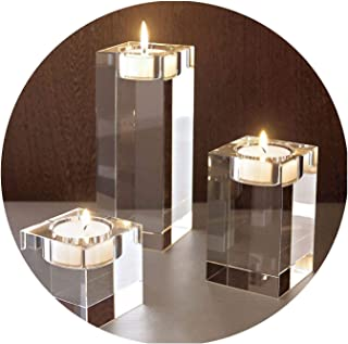 Crystal Candle Holders Small Tealight Candlestick Valentine's Day Candlelight Dinner Table Home Decor,Square 4cm