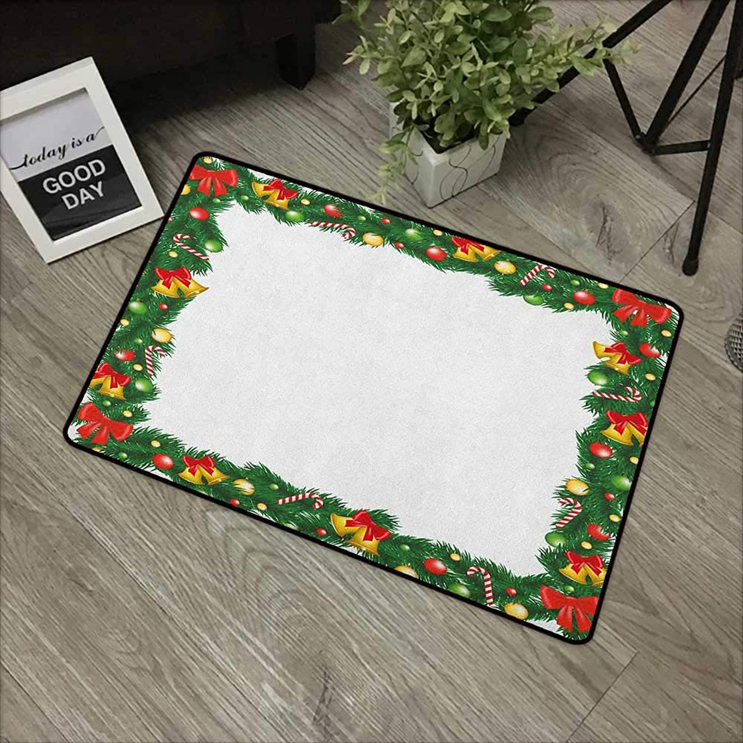 Door mat W35 x L59 INCH New Year,Xmas Themed Garland with Candy Canes Ribbons colorful Baubles and Bells Winter, Multicolor Easy to Clean, no Deformation, no Fading Non-Slip Door Mat Carpet