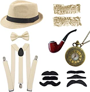 YIZEKE 1920s Mens Gatsby Accessories Gangster Costume Panama Hat Suspender Bow Tie Armband Vintage Pocket Watch Set