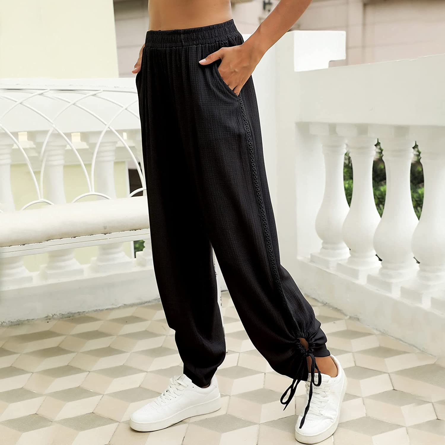 Palazzo Pants for Women High Waist Wide Leg Pants Casual Loose Lounge Pants with Pockets Plus Size Trousers