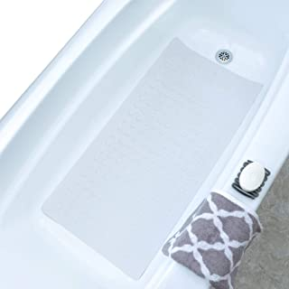 SlipX Solutions White Extra Long Rubber Safety Bath Mat (220 Suction Cups, 18