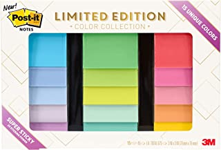 Post-it Notes Limited Edition Super Sticky Color Collection, 3 in x 3 in, 15 Pads/Pack, 45 Sheets/Pad (654-15SSALL)