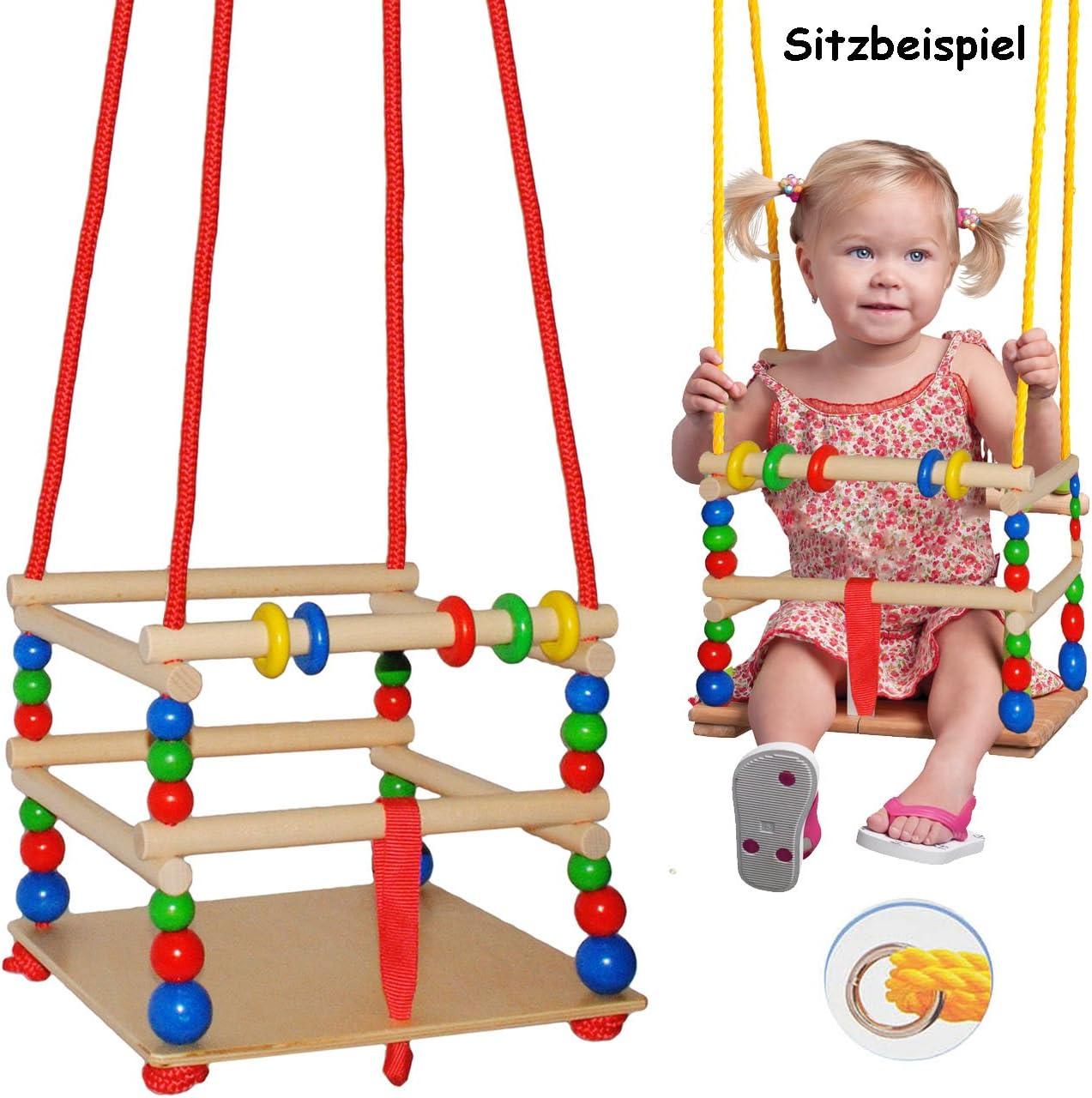 verstellbare Kl.. Leichter Einstieg ! mit Gurt // Kinderschaukel alles-meine.de GmbH Gitterschaukel aus Holz Schaukel /& Babyschaukel Name mitwachsend /& verstellbar incl