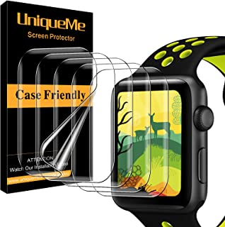 [5 Pack] UniqueMe Screen Protector for Apple Watch Series 6/5 /4 / SE 40mm, [Anhydrous adsorption] [Flexible Film] Soft HD...