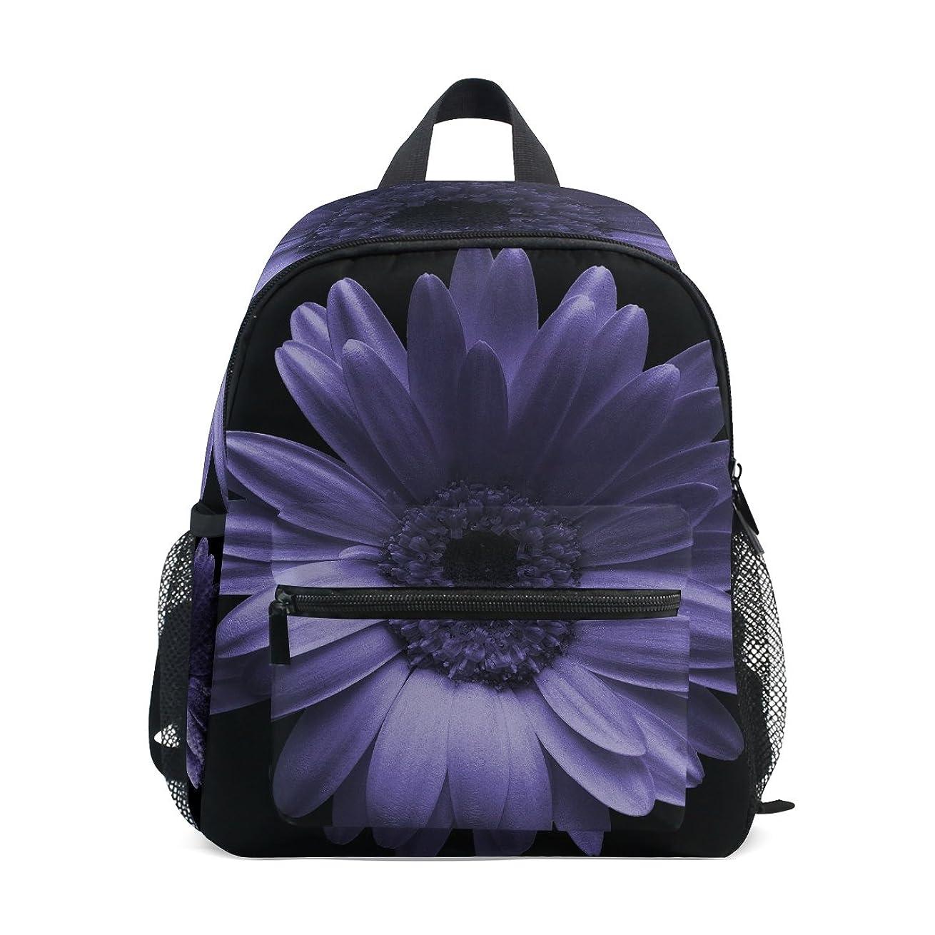 好意上に正直キッズ リュック リュックサック バックパック菊の花 紫 小サイズ ジュニア通学 バッグ 通園 遠足 デイバッグ 軽量 ポリエステル 撥水加工