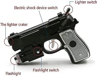 SmokDitrots Multifunctional Tricky toys Pistol Shape Lighter with Flashlight& Electric Shock Device