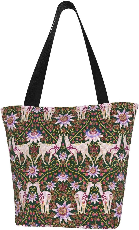 Llama Flowers Funny Lovely Themed Printed Women Canvas Handbag Zipper Shoulder Bag Work Booksbag Tote Purse Leisure Hobo Bag For Shopping