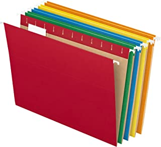 Pendaflex Hanging File Folders, Letter Size, Assorted Colors, 1/5-Cut Adjustable Tabs, 25..