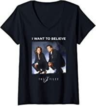 Womens The X-Files Mulder Scully Want To Believe V-Neck T-Shirt
