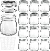 KAMOTA Mason Jars 10 oz With Regular Lids and Bands, Ideal for Jam, Honey, Wedding Favors, Shower Favors, Baby Foods, DIY Magnetic Spice Jars, 12 PACK, 20 Whiteboard Labels Included