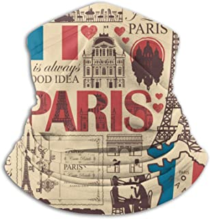 France and Paris Theme Face Mask Dust Wind Neck Gaiter Bandana Headwear Face Scarf