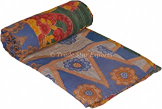 Trade Star Vintage Kantha Quilt Tribal Handmade Embroidered Blanket Reversible Kantha Throws (Pattern 5)