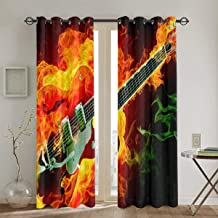 Vbcdgfg Blackout Curtains Panels Fire Green Violin Print Noise Reducing Thermal Insulated Blackout Window Drapes Window Treatment for Bedroom Living Room Office 52 X 72 Inch