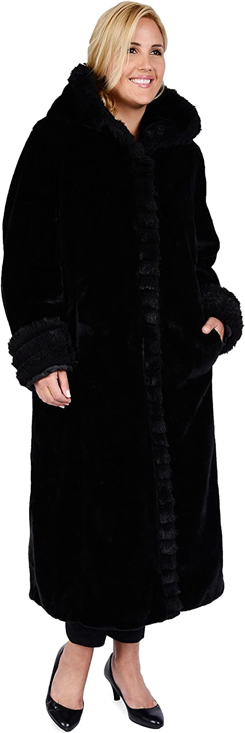 Excelled Leather Women's Full Length Faux Fur Coat
