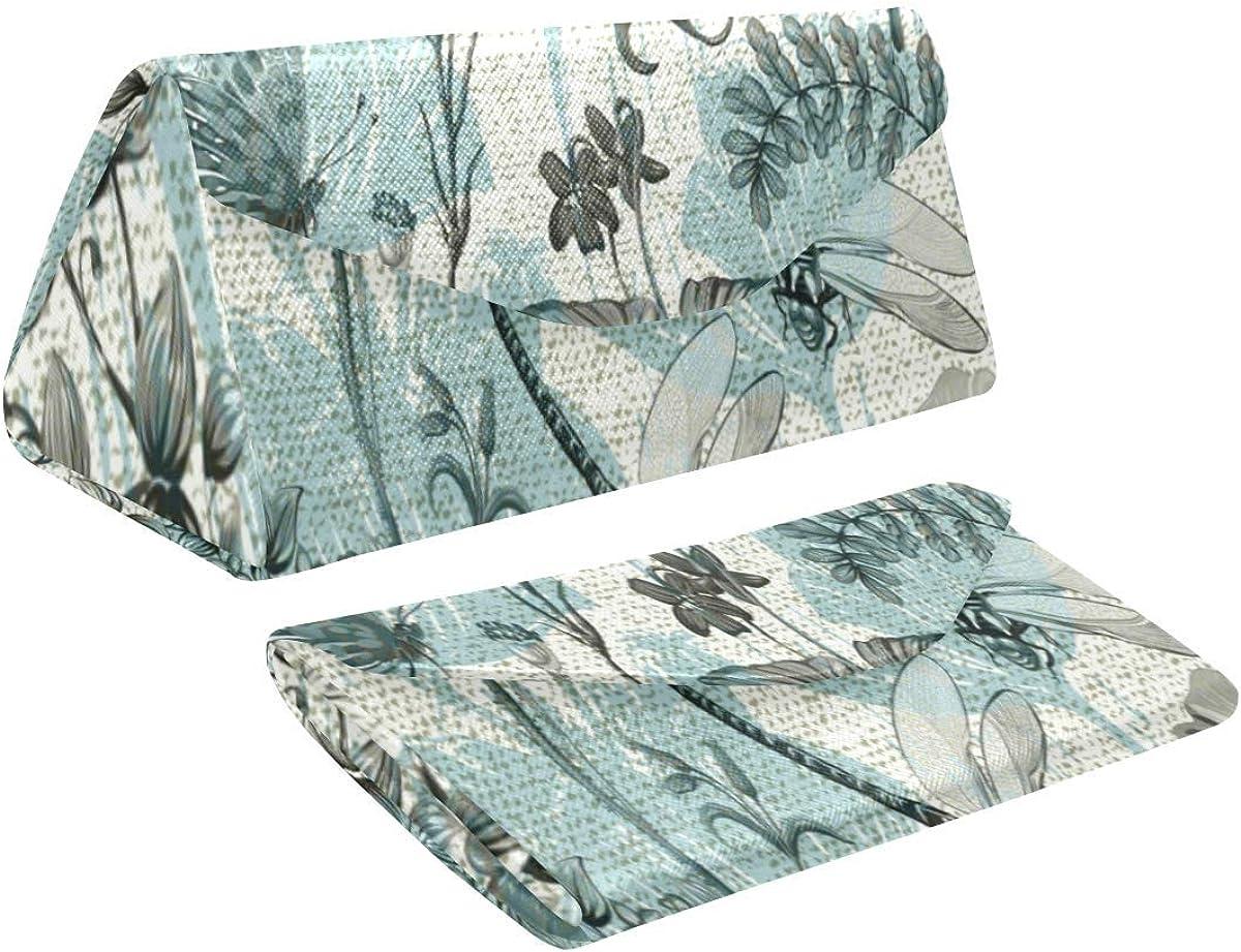 InterestPrint Dragonfly Max 84% Great interest OFF Art Foldable Eyeglass Leather Case Tr PU