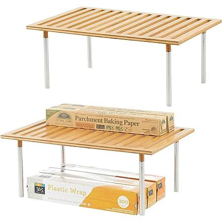 mDesign desserte de cuisine (lot de 2) – meuble de cuisine pratique en bambou et acier inoxydable – étagère de rangement élégante pour le frigo, le plan de travail, etc. – couleur nature
