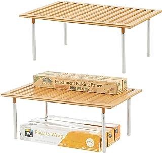 mDesign desserte de cuisine (lot de 2) – meuble de cuisine pratique en bambou et acier inoxydable – étagère de rangement é...