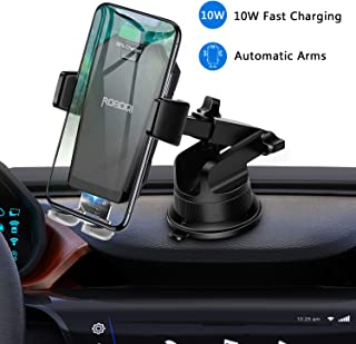 ROBOQI X Wireless Car Charger Mount, Automatic Clamping Car Phone Holder, 7.5W/10W Fast Charging, Compatible with iPhone 11 Xs Max XR 8 Plus, Samsung Note 9 S9 S8