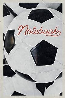 Notebook: Football Equipment Compact Composition Book Journal Diary for Men, Women, Teen & Kids Vintage Retro Design Footie Coaching