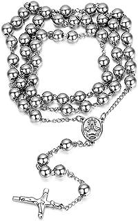 Jewelrywe Gioielli Acciaio Inossidabile Collana Collegamento Perline Catena Catenina Argento Rosario Jesus Gesu Cristo Cro...