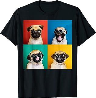 Colourful Retro T-Shirt 1Tee Mens Pug Dog Breed