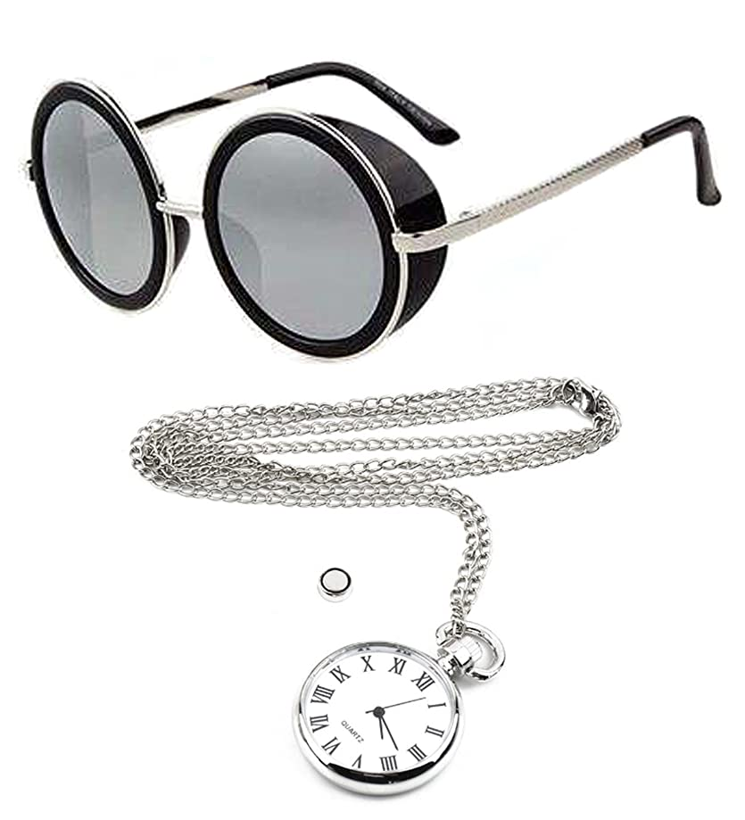 Steampunk Gothic Silver Mirror Round Blinder Sunglasses +Fob Chain Pendant Watch