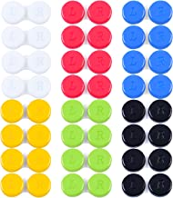 Elcoho 24 Pack Contact Lens Cases Contact Lens Holder Box Left/Right Eyes Contact Lens Container, 6 Colors (Red, Yellow, Black, White, Green, Blue)