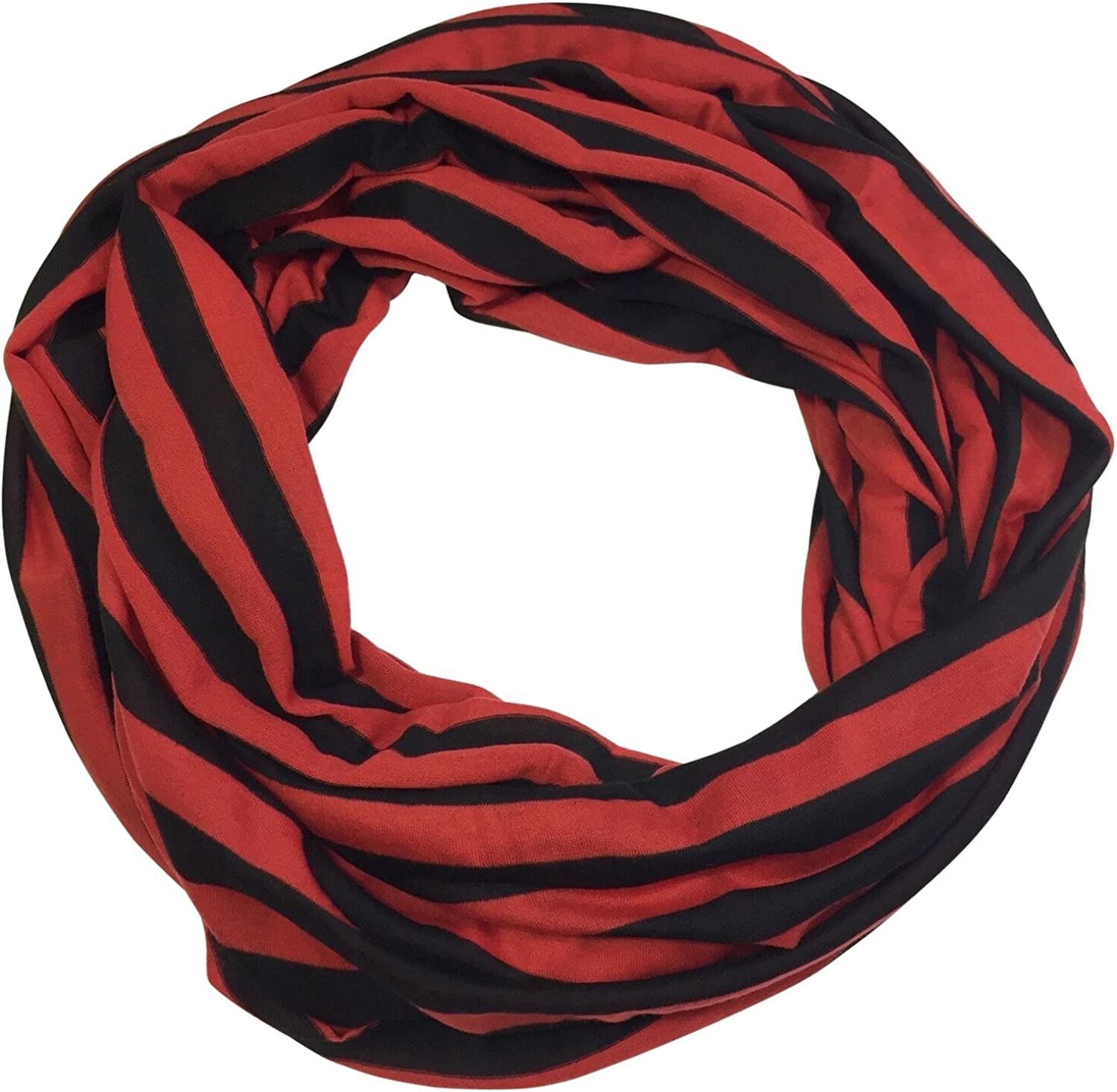 Lightweight PolyKnit Soft Striped Lines Infinity Scarf