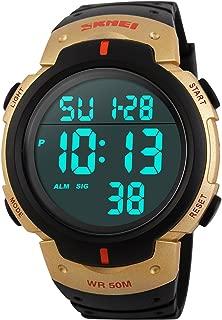 Men Digital Watch Big Dial Light LED Swim Waterproof Black Rubber Band Alarm LED Date Watches 50MM