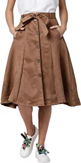 AZOLLA Brown Suede Buttoned Front Skirt for Women