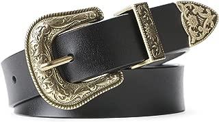 Women Leather Belts Ladies Vintage Western Design Black Waist Belt for Pants Jeans Dresses