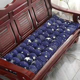 Cojín antideslizante para banco de patio, grueso de madera maciza, cojines largos para silla de interior y exterior, cojín de asiento, balancín para el dolor de coxis, color azul marino, 55 x 150 cm.