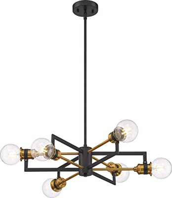 Nuvo 60/6976 Intention Chandelier Warm Brass and Black Finish,6 Light