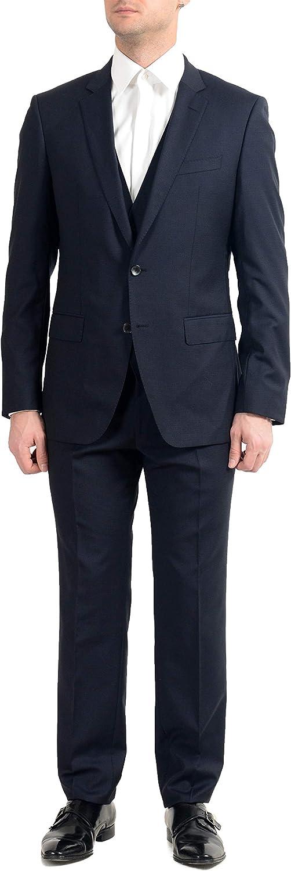 Hugo Boss Huge6/Genius5WE Men's 100% Wool Slim Blue Three-Piece Suit US