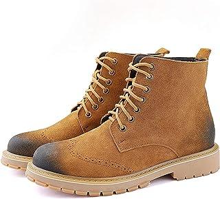 MING-BIN Chaussures Confortables Bottes de randonnée pour Hommes Burnish Toe Round Toe Lace up Haut Haut Haut Haute Faux S...
