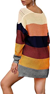 DREAGAL Women Rainbow Striped Pullover Sweater Knit Loose Sweaters Tops