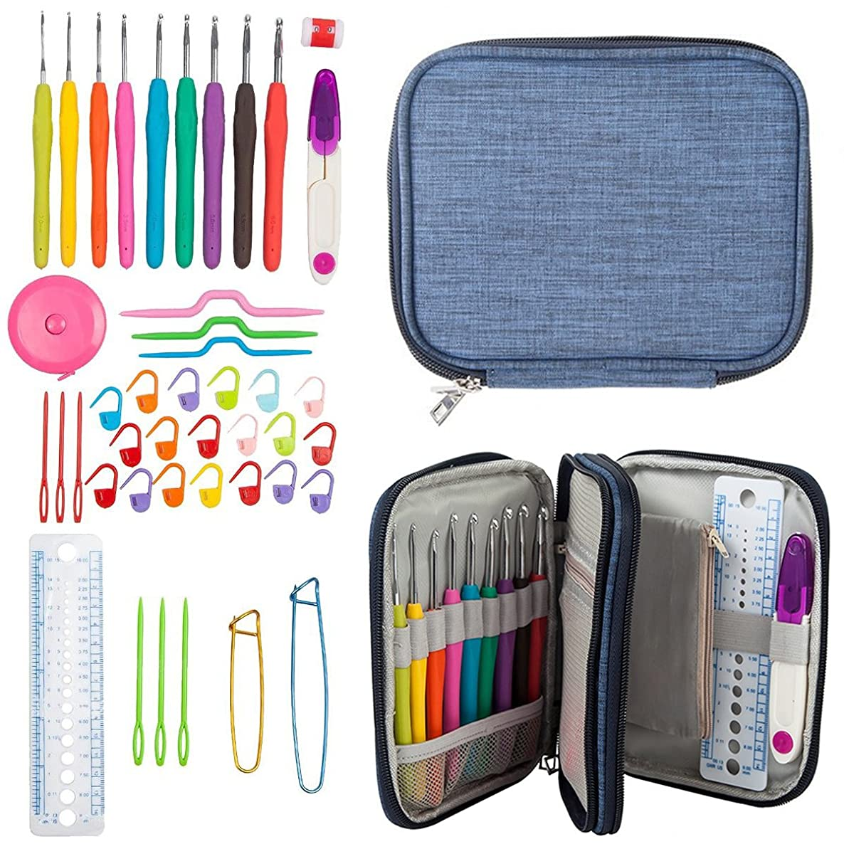 45 Pcs Crochet Hooks Stitches Knitting Needle Kit PERTTY Sewing Tools For DIY Knitting Needle Kit with Zipper Case Organizer