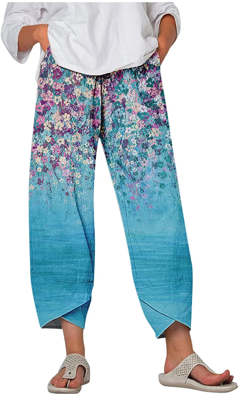 Zxvrara Women Cotton Linen Pants Casual Print Drawstring Loose Elastic Waist Wide Leg Beach Trousers Pockets Large Size
