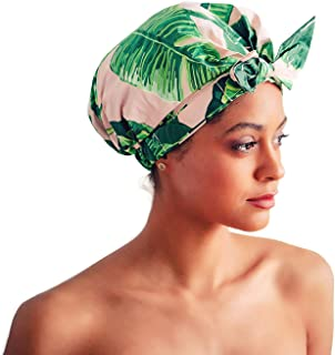 Kitsch Luxury Shower Cap for Women - Waterproof, Reusable Shower Caps (Palm Leaves)