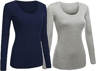 Emmalise Women's Junior and Plus Size Basic Scoop Neck Tshirt Long Sleeve Tee